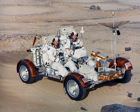 Apollo 16 astronauts John Young and Charles Duke test-drive a Rover Earth Trainer Unit in the Lunar Surface Simulator. The simulator helped develop the LRV navigation system and was an aid to engineers on Earth while the Apollo Missions were taking place. (Image credit: NASA)