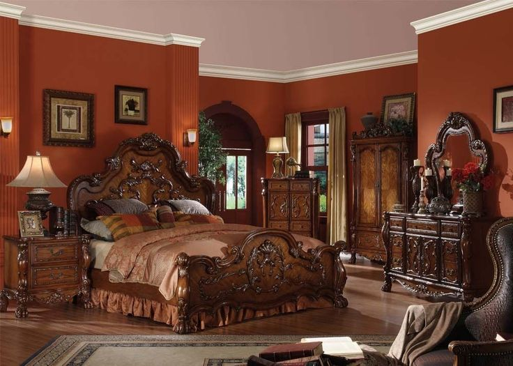 Formal Luxury Antique Dresden Cherry Cal King Size 4Piece Bedroom Set Furniture  #ACME #Traditional