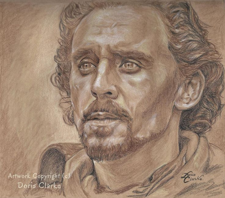 Absolutely loved the expression in the eyes and had to capture it. Tom Hiddleston as Shakespeare's Henry V from the Hollow Crown series, produced by the BBC.  Colour pencil on Kraft paper.  - Artwork copyright 2017 by Doris Clarke - #tomhiddleston #thehollowcrown