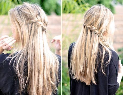 сделайте центральный пробор, хорошо расчешите волосы. Разделите волосы на три равных части. переплетя волосы три раза, вы берете ту часть волос, которая находится посредине, бросаете ее вниз. После этого берете новую прядь, кладете ее поверх средней (средняя становится верхней). На новую прядь (которая стала средней) кладете нижнюю. А на нижнюю бросаете верхнюю –  ту, которая и будет свисать вниз. Продолжайте плести таким образом далее, но не забывайте отпускать вниз правильную прядь.