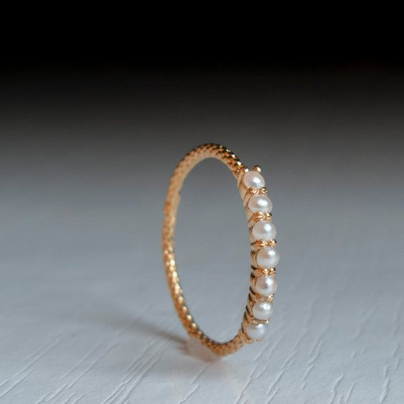 Gold Pearl ring by ARDONN on Etsy