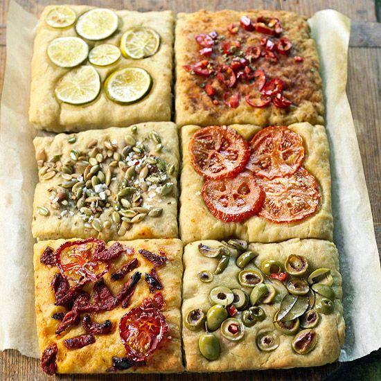 No-Knead Focaccia TilesOlive Oil, No Knead Focaccia, Focaccia Breads, Recipe, Pizza, Easy Parties, Noknead Focaccia, Focaccia Tile, Parties Food