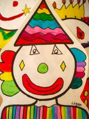 Shapely Clowns - Students draw clown portraits using various shapes. Spring classes lower grades