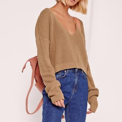 Missguided Nude V-Neck Sloughy Cropped Sweater