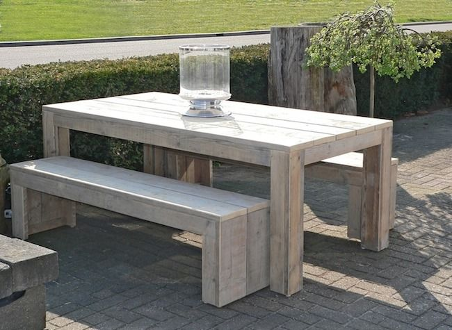 Steigerhouten tuintafel google zoeken tuin pinterest long island and islands - Plastic tuintafel ...