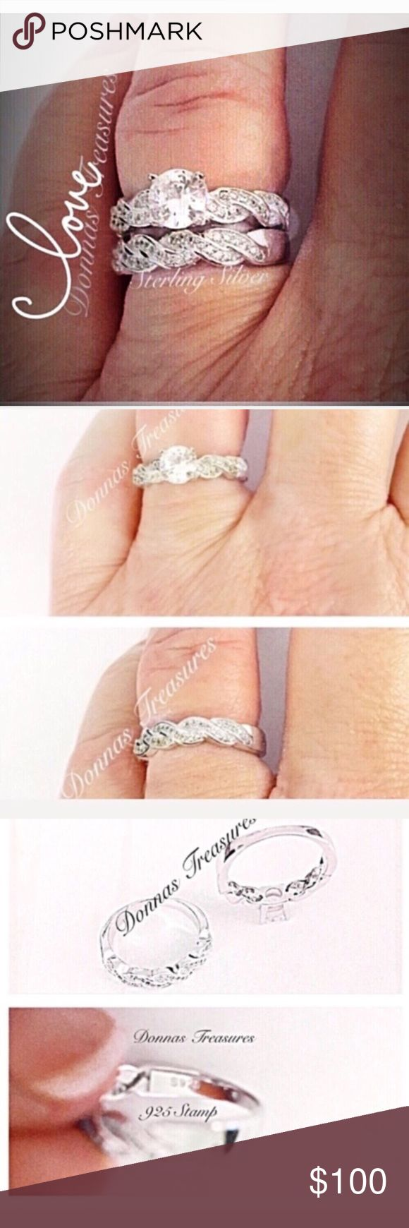 ❤️2 Carat AAA CZ & Sterling Silver Wedding Set This set is made of AAA CZ's in a Sterling Silver Setting. The main stone on the engagement ring is approximately .50 Carat. The bands have a braided effect & are studded with an approx total of 1.50 Carat AAA CZ. ( .75 carats on each band.) Jewelry Rings