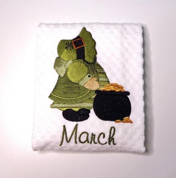 St Patricks Day Kitchen Towel March Birthday Goldie St