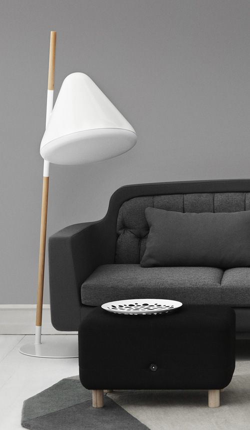A quirky and futuristic floor lamp called Hello. Designed by the Swedish designer Jonas Wagell for Danish Normann Copenhagen.