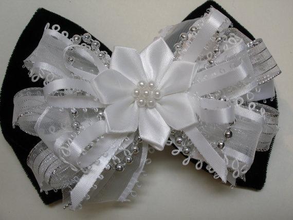 Black Velvet and White Hair Bow Unique Handmade by HareBizBows