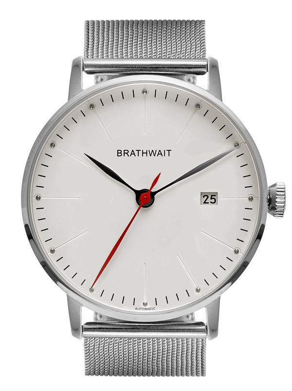 Brathwait – Automatic Minimalist Wrist Watch with quick release mesh strap. ø 40mm 316L steel case with domed sapphire crystal. 9015 automatic movement.