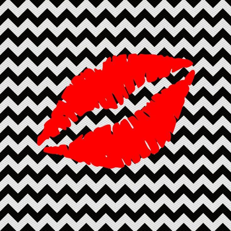 imagem para quadrinho- plano de fundo zig zag preto e branco -boca vermelho - beijo - Blog Dikas e diy