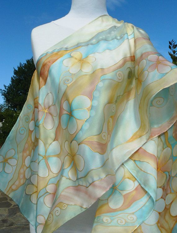 """Pastel flowers chic silk scarf Hand Painted Delicate sky blue , cream gold . """" Flora at dusk """" by Irisit"""