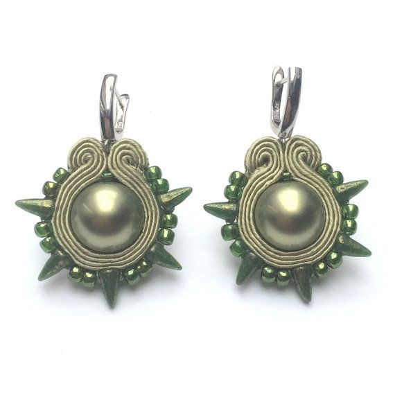 Soutache earringg Sage with pearl drop earrings beaded by Lolissa