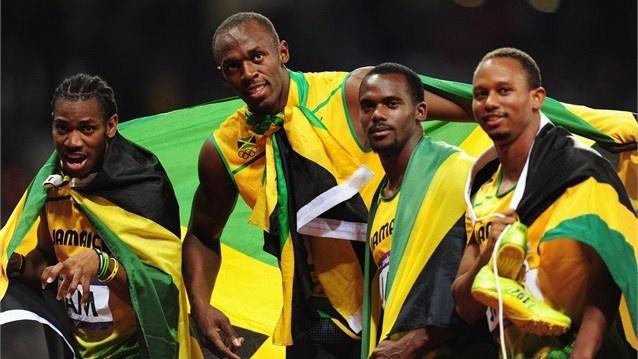 Gold medallists Usain Bolt, Yohan Blake, Michael Frater and Nesta Carter of JamaicaJamaica Olympicteam2012, Jamaica 4X100, London 2012, 2012 Olympics, 4X100 Olympics, Olympics London, Olympics Athletic, Win Gold, 100M Relay