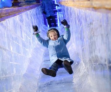 Gaylord Hotels -- All four locations (near Orlando, Dallas, Nashville, and Washington, D.C.) feature ICE!, a massive exhibit with colorful themed ice sculptures and giant ice slides for kids on select dates from mid-November to January 2 or 3, 2016.