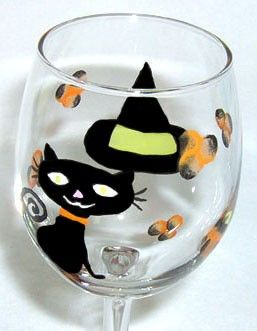 Black Cat Wine Glass Hand Painted by ConniesCreations2010 on Etsy, $10.00