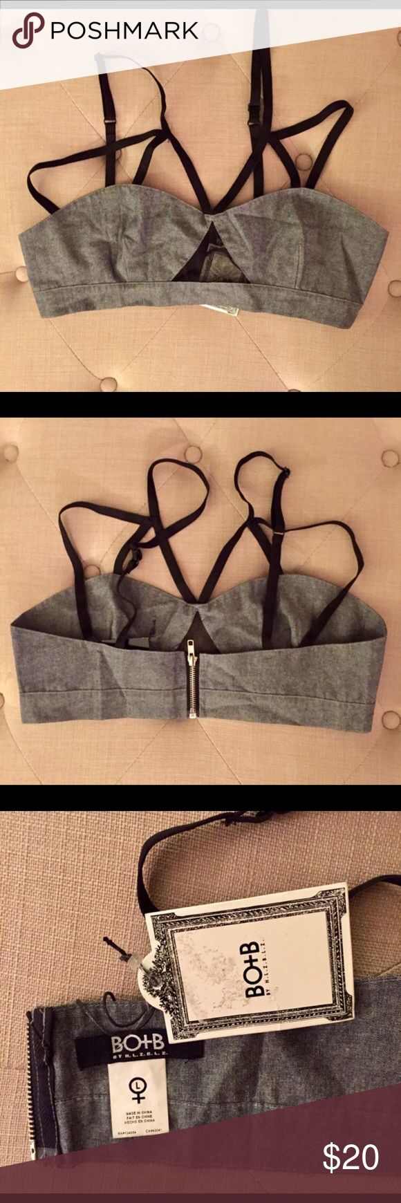 HLZBLZ denim zip up bra Leyte NWT Mercer worn. Denim zip up bralette with adjustable straps. Fun little mesh peekaboo window detail on front. Zipper works perfectly. Straps are elastic Intimates & Sleepwear Bras