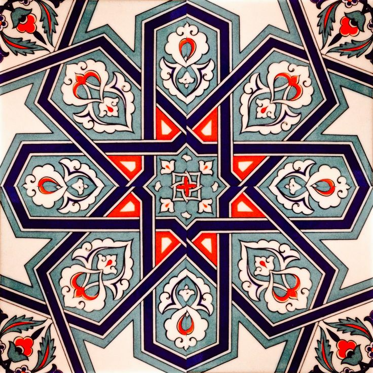 White, blue and red. Istanbul Turkish tile.