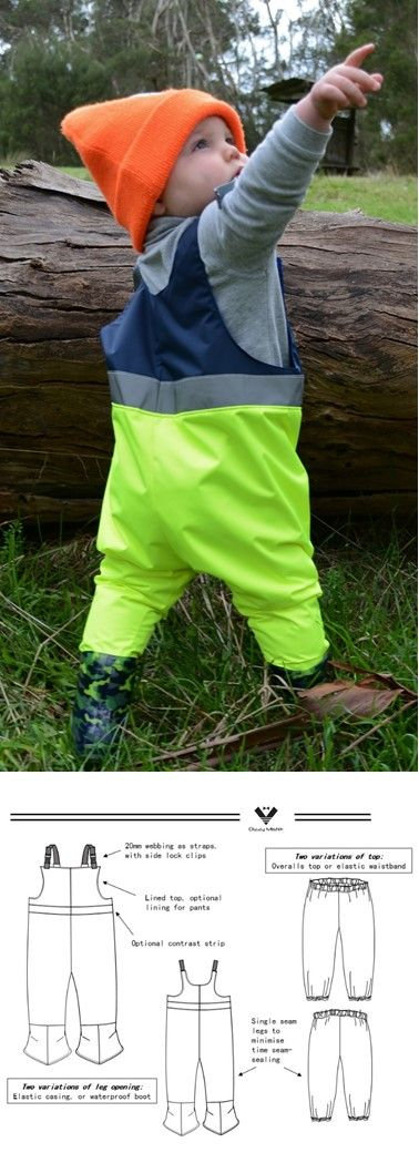 Waterproof overalls, pattern also includes waterproof pants. Seam-sealing guide included. Try it today!