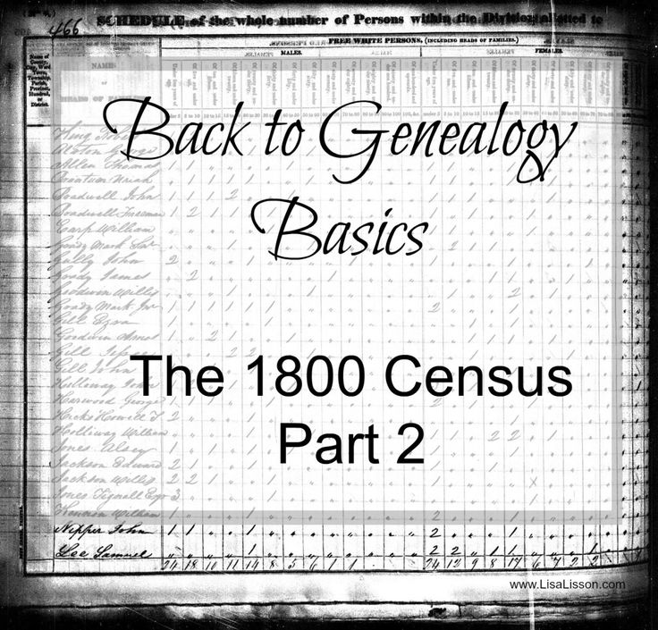Genealogists often divide the 1800 census records into 1850 and beyond and pre-1850 census records. Beginning with the 1850 census record, all members of the household were named. Census records from 1790-1850 only named the head of the household. Other family members were simply noted with a mark in an age category. So, what's a genealogist to do?