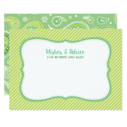 Green Paisley Baby Shower Wishes and Advice Card - baby gifts child new born gift idea diy cyo special unique design
