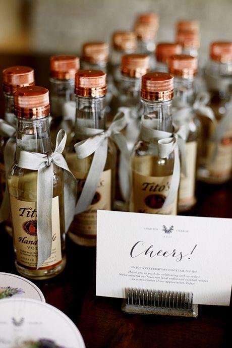 Mini vodka wedding favors. Cheers!   Brides.com