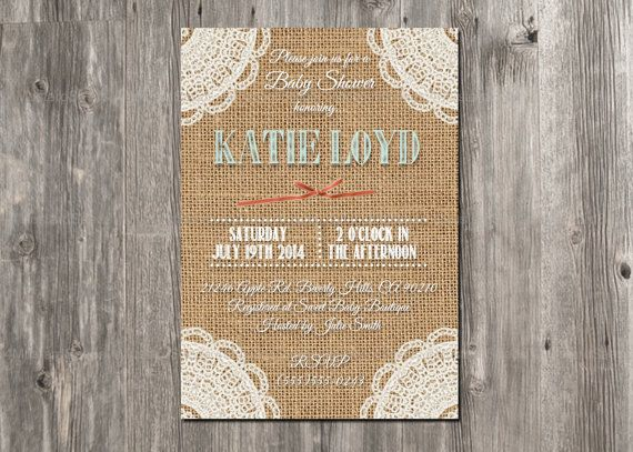 Rustic Baby Shower Invitation. Burlap  Lace Girl by 4MustardSeeds, $16.00