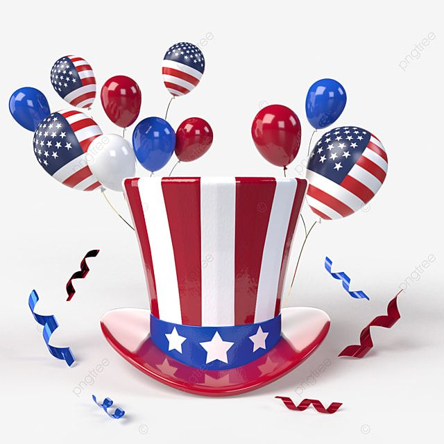 Usa Independence Day Colorful Illustration With A Hat And Multi Colored Balloons Patriot Stars Balloon Png Transparent Clipart Image And Psd File For Free Do In 2021 Independence Day Fireworks Independence