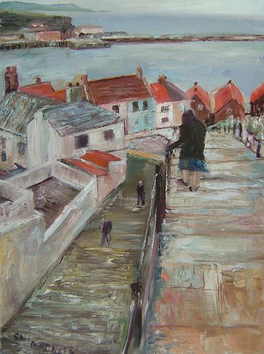 Steps to Whitby Harbour 2 My painting