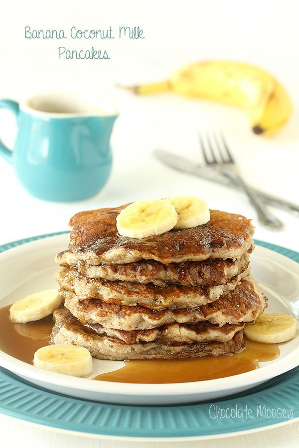 Serve a stack of these dairy free Banana Coconut Milk Pancakes for brunch to start your morning off a little sweeter (made with coconut milk, making them dairy free)