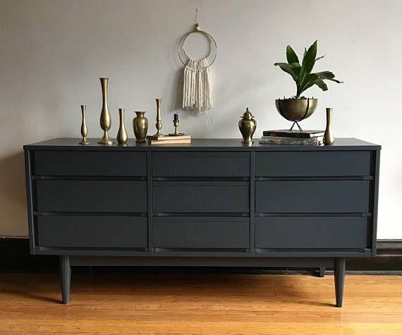 Best Grey Mid Century Modern Low Dresser Mcm Credenza By Low 400 x 300