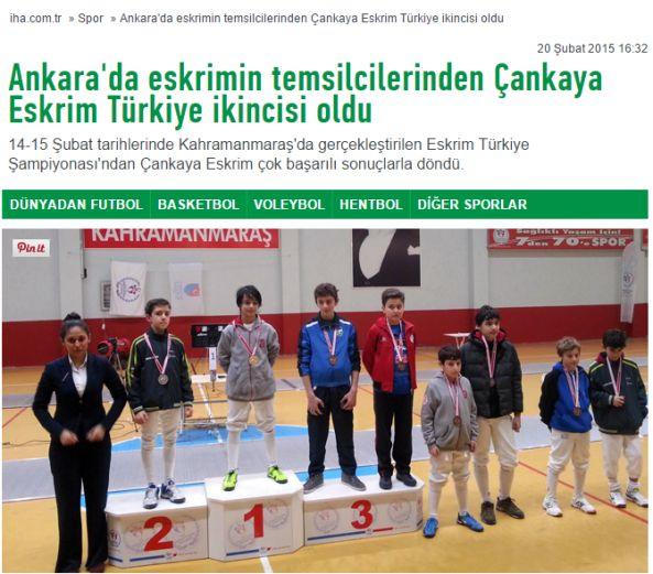 Çankaya Eskrim Türkiye İkincisi Basın Yansımaları