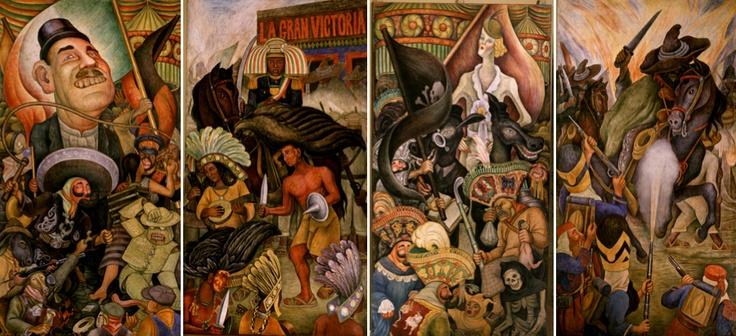 """""""Carnaval de la vida mexicana"""" pintado por Diego Rivera, consta de cuatro paneles transportables. Originalmente fue colocado en el Hotel Reforma pero debido a su fuerte carga política, fue retirado y guardado hasta 1963, cuando se trasladó al Palacio de Bellas Artes."""