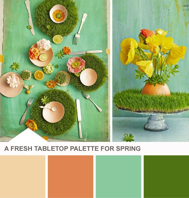 Tuesday Huesday: Set the Table With New Spring Colors (http://blog.hgtv.com/design/2014/03/18/spring-green-table-setting-color-palette/?soc=pinterest)Colors Combos, Color Palettes, Energy Colors, Sets Colors, Peaches Colors, Color Combos, Colors Palettes, Colors Schemes, Colors Ideas