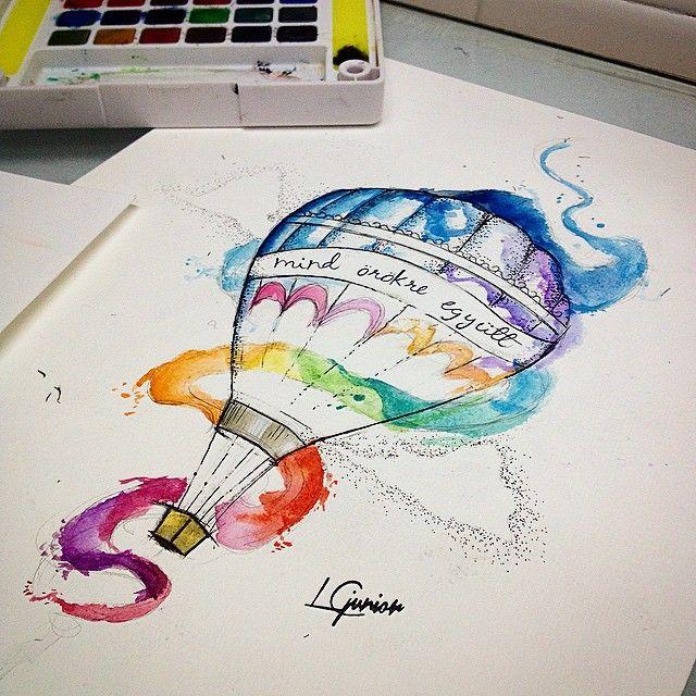 Arte feita para cliente • #balao #ballon #watercolor #watercolortattoo #aquarela #followthecolours #muitascores #lcjunior #dotwork