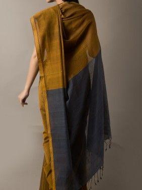 Handwoven Ochre Green Pure Cotton Saree with Steel Blue Palla…
