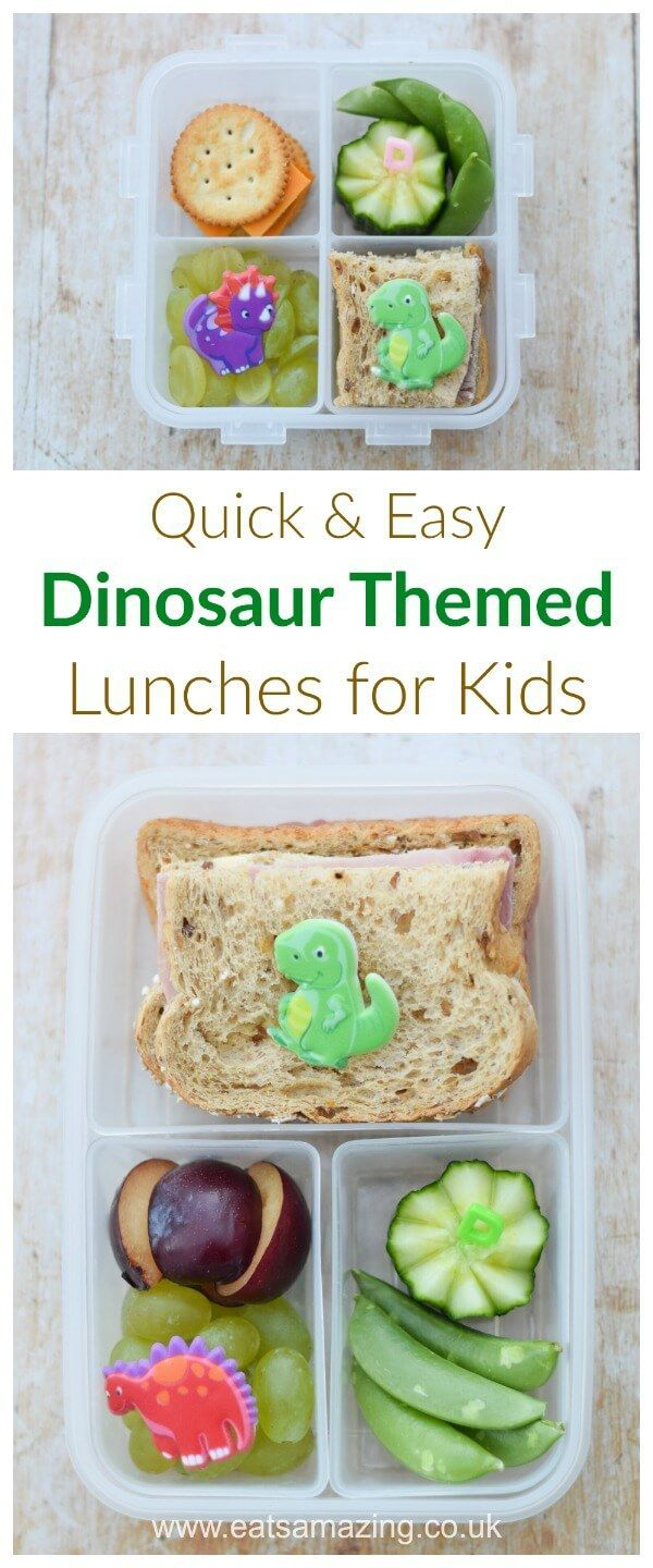 Quick and easy dinosaur themed packed lunches for kids - simple but fun bento lunchtime ideas from Eats Amazing UK     #bento #kidsfood #lunchideas #lunch #lunchtime #dinosaur #funfood #healthykids