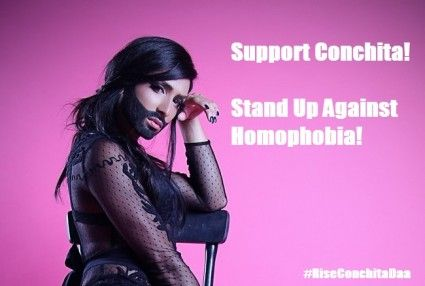 She Will Rise Like A Phoenix!   Support Conchita! Stand up against homophobia!   We are launching a campaign in support of Conchita Wurst and against homophobia.  #Conchitawurst #homophobia #tolerance #eurovision #support