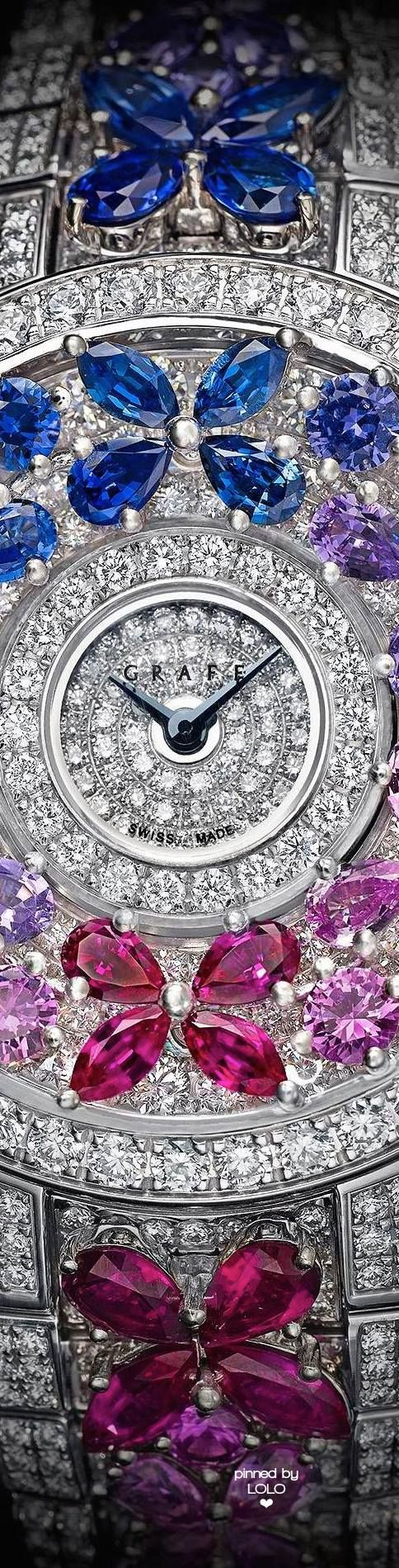 Graff Diamonds Butterfly Motif Diamond and Multicoloured Sapphire Watch.
