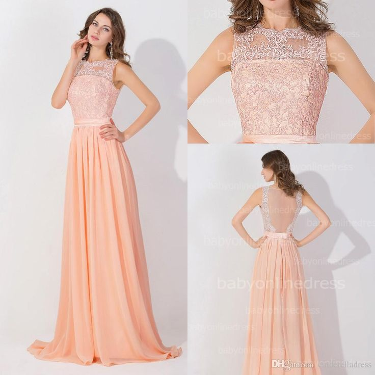 Prepare the uk prom dresses for the upcoming prom? Then you need to see  Peach Pink Long High Neck Cheap Prom Dresses 2015 Lace Real Image Backless Sheer Long Evening Gowns In Stock Bridesmaid Dress BZP0530 in cinderelladress and other cheap plus size prom dresses under 100 and occasion wear on DHgate.com.