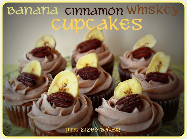 Pint Sized Baker: Banana Whiskey Cupcakes with Cinnamon Frosting.