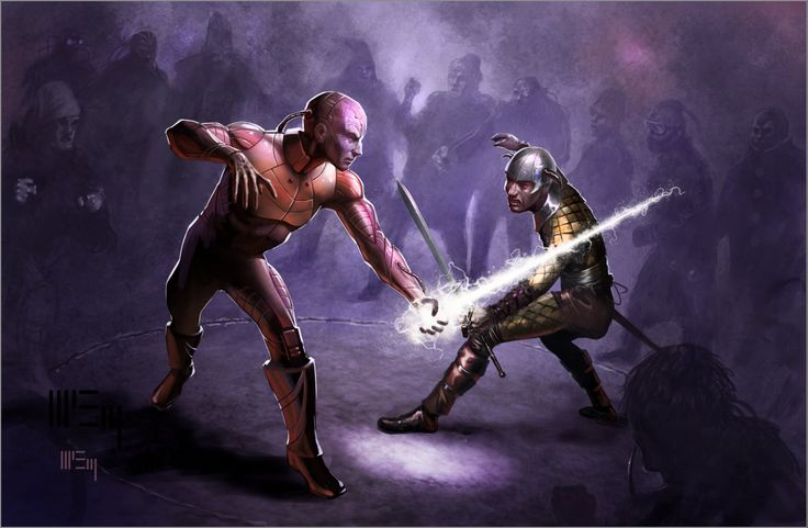 Two adventurers square off in a duel. Art by Patrick McEvoy.