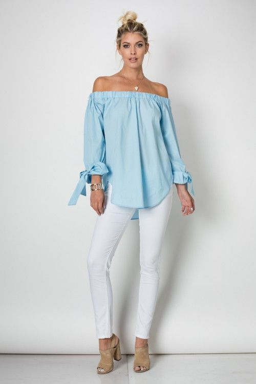 29c5f61d71f1ff Long sleeve off shoulder striped top w/ wrist tie | Summer Fashion  Inspiration | Off the shoulder, Shoulder shirts, Shoulder