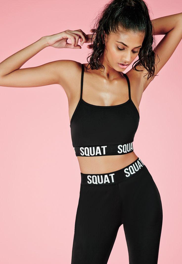 Missguided - Brassière de sport noire slogan Squat Active