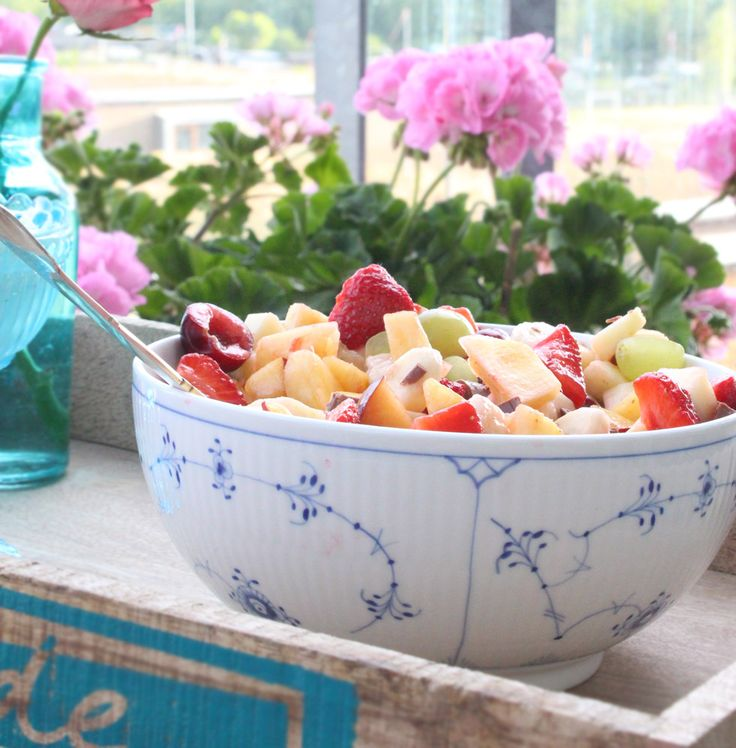 Royal Copenhagen - Fruit Salad Beautifully served in a 'Blue Fluted' Collection, 'Plain' Pattern Salad Bowl.