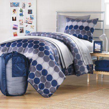 Boy Blue Gray Dot Plaid Grid Dorm College Twin Xl