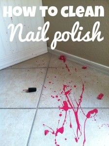 How to clean a nail polish spill on babycenter.com . Good to know! @Tiffany Long