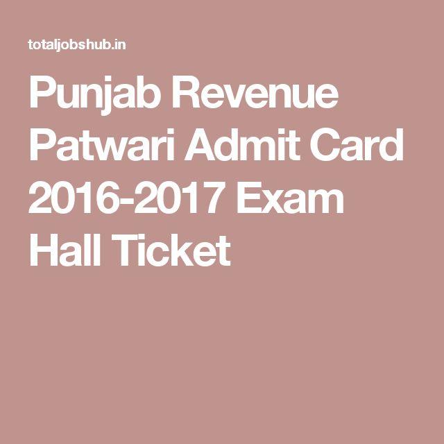 Punjab Revenue Patwari Admit Card 2016-2017 Exam Hall Ticket