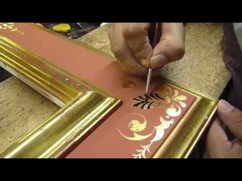 Gold on the icons with clay - 4 how to burnish with agate stone - YouTube