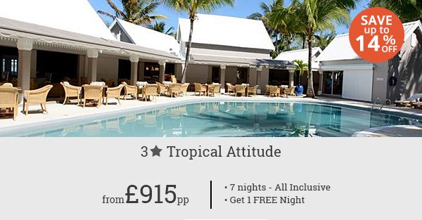 Enjoy a memorable tropical holiday in Mauritius with this never before deal for Tropical Attitude! One free night with 7-night all inclusive deal!